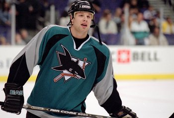 26 Dec 2000:  Brad Stuart #7 of the San Jose Sharks skates on the ice during the game against the Los Angeles Kings at the STAPLES Center in Los Angeles, California.  The Sharks defeated the Kings 2-1.Mandatory Credit: Kellie Landis  /Allsport