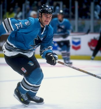 10 Nov 1997: Leftwinger Viktor Kozlov of the San Jose Sharks in action during a game against the Anaheim Mighty Ducks at Arrowhead Pond in Anaheim, California. The Sharks defeated the Ducks 6-4.