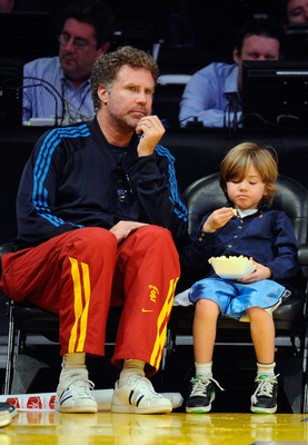 LOS ANGELES, CA - APRIL 03: Will Ferrell (L) and Matthias Ferrell attend the basketball game between the Los Angeles Lakers and the Denver Nuggets at Staples Center on April 3, 2011 in Los Angeles, California. NOTE TO USER: User expressly acknowledges and