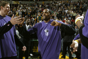SEATTLE - MAY 3:  Cuttino Mobley #3 of the Sacramento Kings is introduced to the fans before Game five of the Western Conference Quarterfinals against the Seattle Sonics during the 2005 NBA Playoffs at Key Arena on May 3, 2005 in Seattle, Washington.  The
