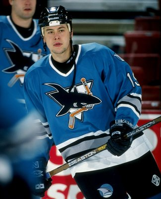 16 Apr 1998:  Center Marco Sturm of the San Jose Sharks in action during a game against the Colorado Avalanche at McNichols Arena in Denver, Colorado.  The Avalanche won the game, 4-1. Mandatory Credit: Brian Bahr  /Allsport