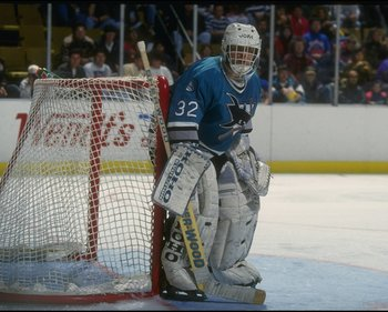 21 Nov 1993: Goaltender Arturs Irbe of the San Jose Sharks looks on during a game against the Buffalo Sabres at Memorial Auditorium in Buffalo, New York.