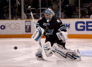 SAN JOSE, CA - JANUARY 21:  Evgeni Nabokov #20 of the San Jose Sharks makes a save during their game against the Anaheim Ducks at HP Pavilion on January 21, 2010 in San Jose, California.  (Photo by Ezra Shaw/Getty Images)