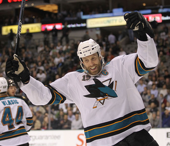 DALLAS, TX - MARCH 15:  Center Joe Thornton #19 of the San Jose Sharks celebrates a goal against the Dallas Stars at American Airlines Center on March 15, 2011 in Dallas, Texas.  (Photo by Ronald Martinez/Getty Images)