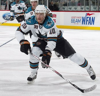 NEWARK, NJ - FEBRUARY 20:  Christian Ehrhoff #10 of the San Jose Sharks skates against the New Jersey Devils on February 20, 2008 at the Prudential Center in Newark, New Jersey. The Devils defeated the Sharks 3-2.  (Photo by Bruce Bennett/Getty Images)
