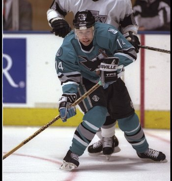 10 Apr 1996: Center Ray Whitney of the San Jose Sharks works against the Los Angeles Kings during a game at the Great Western Forum in Inglewood, California. The Kings won the game, 5-2.