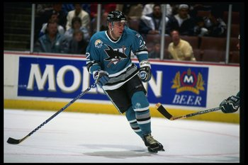 1 Nov 1996:  Center Ulf Dahlen of the San Jose Sharks moves down the ice during a game against the Anaheim Mighty Ducks at Arrowhead Pond in Anaheim, California.  The Ducks won the game, 4-3. Mandatory Credit: Glenn Cratty  /Allsport