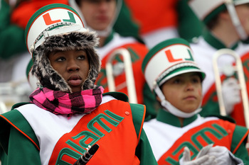 EL PASO, TX - DECEMBER 30: A member of the Miami Hurricanes band during play against the Notre Dame Fighting Irish at Sun Bowl on December 30, 2010 in El Paso, Texas.  (Photo by Ronald Martinez/Getty Images)