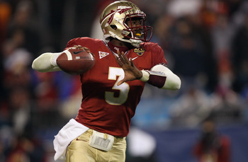 CHARLOTTE, NC - DECEMBER 04:  EJ Manuel #3 of the Florida State Seminoles drops back to pass against the Virginia Tech Hokies during their game at Bank of America Stadium on December 4, 2010 in Charlotte, North Carolina.  (Photo by Streeter Lecka/Getty Im