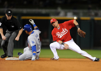 GOODYEAR, AZ - MARCH 03:  Xavier Paul #3 of the Los Angeles Dodgers slides into second base as Paul Janish #7 of the Cincinnati Reds cannot come up with the ball at Goodyear Ballpark on March 3, 2011 in Goodyear, Arizona.  (Photo by Norm Hall/Getty Images