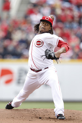 CINCINNATI, OH - MARCH 31: Edinson Volquez #36 of the Cincinnati Reds pitches against the Milwaukee Brewers in the opening day game at Great American Ballpark on March 31, 2011 in Cincinnati, Ohio. (Photo by Joe Robbins/Getty Images)