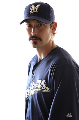 MARYVALE, AZ - FEBRUARY 24:  John Axford #59 of the Milwaukee Brewers poses for a portrait during Spring Training Media Day on February 24, 2011 at Maryvale Stadium in Maryvale, Arizona.  (Photo by Jonathan Ferrey/Getty Images)