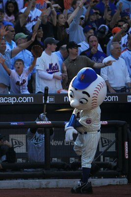 NEW YORK - APRIL 05: Mr. Met interacts with the crowd in the game between the Florida Marlins and the New York Mets during their Opening Day game at Citi Field on April 5, 2010 in the Flushing neighbourhood of the Queens borough of New York City.  (Photo