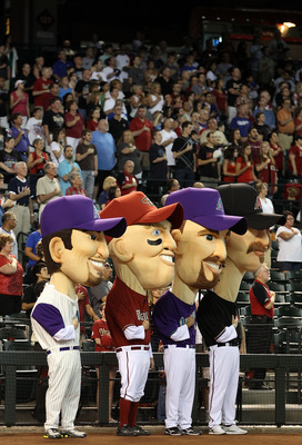 PHOENIX - JULY 03: The Arizona Diamondbacks 'legends' (L-R) Luis Gonzalez, Matt Williams, Mark Grace and Randy Johnson stand attended for the National Anthem before the Major League Baseball game against the Los Angeles Dodgers at Chase Field on July 3, 2