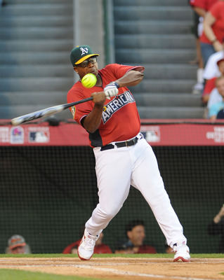 ANAHEIM, CA - JULY 11:  Rapper MC Hammer at bat during the MLB All Star Game Celebrity Softball Game at Angels Stadium of Anaheim on July 11, 2010 in Anaheim, California.  (Photo by Michael Buckner/Getty Images)