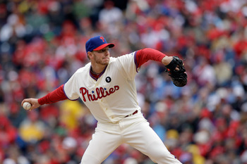 PHILADELPHIA, PA - APRIL 01:  Starting pitcher Roy Halladay #34 of the Philadelphia Phillies delivers to a Houston Astros batter during the second inningof opening day at Citizens Bank Park on April 1, 2011 in Philadelphia, Pennsylvania.  (Photo by Rob Ca