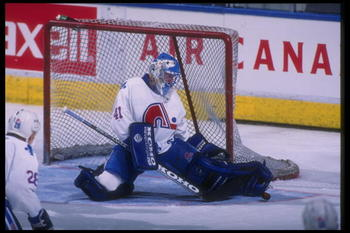 20 Mar 1995:  Goaltender Jocelyn Thibault of the Quebec Nordiques blocks a shot during a game against the Florida Panthers at the Quebec Coliseum in Quebec City, Quebec.  The Nordiques won the game, 5-4. Mandatory Credit: Robert Laberge  /Allsport