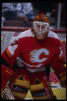 26 Feb 1996:  Goaltender Trevor Kidd of the Calgary Flames looks on during a game against the Anaheim Mighty Ducks at Arrowhead Pond in Anaheim, California.  The Flames won the game, 5-3. Mandatory Credit: Glenn Cratty/Allsport