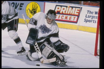 1989-1990:  Goaltender Kelly Hrudey of the Los Angeles Kings. Mandatory Credit: Ken Levine  /Allsport