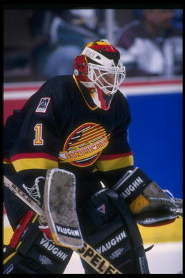 18 Oct 1995:  Goaltender Kirk McLean of the Vancouver Canucks looks on during a game against the Anaheim Mighty Ducks at Arrowhead Pond in Anaheim, California.  The Canucks won the game, 5-1. Mandatory Credit: Glenn Cratty  /Allsport