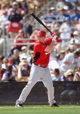 GLENDALE, AZ - MARCH 05:  Jay Bruce #32 of the Cincinnati Reds bats against the Los Angeles Dodgers during the spring training game at Camelback Ranch on March 5, 2011 in Glendale, Arizona.  (Photo by Christian Petersen/Getty Images)