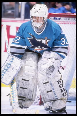 17 Apr 1995:  Goaltender Arturs Irbe of the San Jose Sharks looks on during a game against the Anaheim Mighty Ducks at the San Jose Arena in San Jose, California.  The Ducks won the game, 3-0. Mandatory Credit: Al Bello  /Allsport