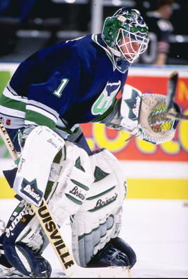 13 Feb 1997:  Goaltender Sean Burke of the Hartford Whalers looks on during a game against the New Jersey Devils at the Continental Airlines Arena in East Rutherford, New Jersey.  The Devils won the game, 4-0. Mandatory Credit: Al Bello  /Allsport