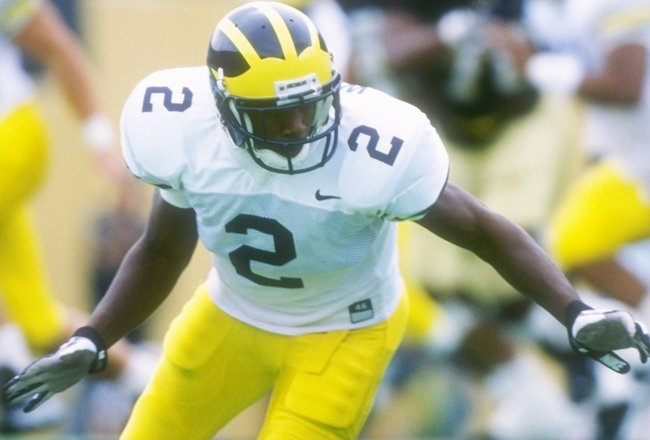 14 Sep 1996: Cornerback Charles Woodson of the Michigan Wolverines in action during a game against the Colorado Buffaloes at Folsom Field in Boulder, Colorado. Michigan won the game, 20-13.
