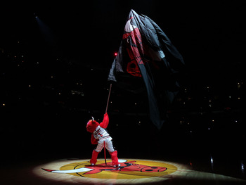 CHICAGO, IL - MARCH 07: Benny, the mascot of the Chicago Bulls, waves a flag before a game against the New Orleans Hornets at the United Center on March 7, 2011 in Chicago, Illinois. The Bulls defeated the Hornets 85-77. NOTE TO USER: User expressly ackno