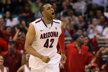 LOS ANGELES, CA - MARCH 11:  Jamelle Horne #42 of the Arizona Wildcats reacts after making a three-pointer late in the second half while taking on the USC Trojans in the semifinals of the 2011 Pacific Life Pac-10 Men's Basketball Tournament at Staples Cen