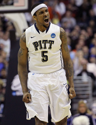 WASHINGTON - MARCH 19:  Gilbert Brown#5 of the Pittsburgh Panthers celebrates during the third round of the 2011 NCAA men's basketball tournament against Butler University at Verizon Center on March 19, 2011 in Washington, DC.  (Photo by Nick Laham/Getty