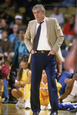 LOS ANGELES - 1988:  With hands in his pockets, head coach Doug Moe of the Denver Nuggets stands on the sideline during the NBA game against the Los Angeles Lakers at the Great Western Forum in Los Angeles, California in 1988. NOTE TO USER: User expressly