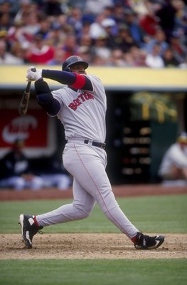 2 Apr 1998:  Infielder Mo Vaughn of the Boston Red Sox in action against the Oakland A''s during a game at the Oakland Coliseum in Oakland, California.  The Red Sox defeated the A''s 6-3. Mandatory Credit: Otto Greule  /Allsport