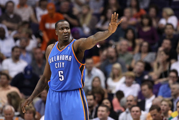 PHOENIX, AZ - MARCH 30:  Kendrick Perkins #5 of the Oklahoma City Thunder reacts during the NBA game against the Phoenix Suns at US Airways Center on March 30, 2011 in Phoenix, Arizona. The Thunder defeated the Suns 116-98.   NOTE TO USER: User expressly
