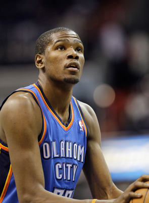 WASHINGTON, DC - MARCH 14: Kevin Durant #35 of the Oklahoma City Thunder shoots a free throw against the Washington Wizards during the first half at the Verizon Center on March 14, 2011 in Washington, DC. NOTE TO USER: User expressly acknowledges and agre