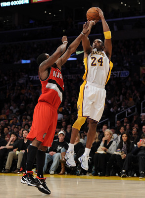LOS ANGELES, CA - MARCH 20:  Kobe Bryant #24 of the Los Angeles Lakers shoots a jumper over Wesley Matthews #2 of the Portland Trail Blazers at the Staples Center on March 20, 2011 in Los Angeles, California.  NOTE TO USER: User expressly acknowledges and