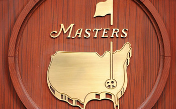AUGUSTA, GA - APRIL 05:  The Masters logo is seen in the interview room inside the press building during a practice round prior to the 2011 Masters Tournament at Augusta National Golf Club on April 5, 2011 in Augusta, Georgia.  (Photo by Harry How/Getty I