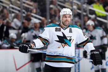 PITTSBURGH, PA - FEBRUARY 23:  Dan Boyle #22 of the San Jose Sharks during the NHL game against the Pittsburgh Penguins at Consol Energy Center on February 23, 2011 in Pittsburgh, Pennsylvania. The Sharks defeated the Penguins 3-2 in overtime.  (Photo by