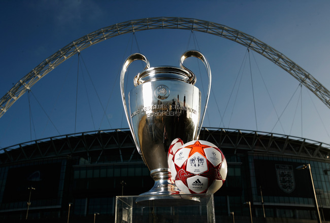LONDON, ENGLAND - MARCH 03:  Adidas present the Official Match Ball for the 2011 UEFA Champions League Final at Wembley Stadium on March 3, 2011 in London, United Kingdom.  (Photo by Gary Prior/Getty Images for adidas)