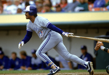 OAKLAND, CA - 1990:  George Bell #11 of the Toronto Blue Jays swings at a pitch during a 1990 game against the Oakland Athletics at the Oakland-Alameda Coliseum in Oakland, California.  (Photo by Otto Greule Jr/Getty Images)