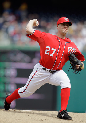 WASHINGTON, DC - APRIL 03: Starting pitcher Jordan Zimmermann #27 of the Washington Nationals delivers to a Atlanta Braves batter during the first inning at Nationals Park on April 3, 2011 in Washington, DC.  (Photo by Rob Carr/Getty Images)