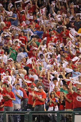 PHILADELPHIA - SEPTEMBER 25: Philadelphia Phillies fans cheer a two-run home run in the first inning of a game against the New York Mets at Citizens Bank Park on September 25, 2010 in Philadelphia, Pennsylvania. (Photo by Hunter Martin/Getty Images)