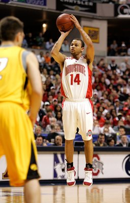 INDIANAPOLIS - MARCH 12:  Jamar Butler #14 of the Ohio State Buckeyes shoots over Jeff Horner #2 of the Iowa Hawkeyes during the Big 10 Tournament Championship game on March 12, 2006 at Conseco Fieldhouse in Indianapolis, Indiana.  (Photo by Brian Bahr/Ge