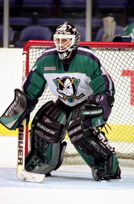 21 Mar 2000: Goalie Guy Hebert #31 of the Anaheim Mighty Ducks in action against the Los Angeles Kings at Staples Center in Los Angeles, California. The Ducks defeated the Kings 5-2.