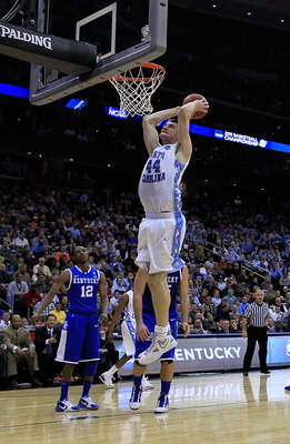 NEWARK, NJ - MARCH 27:  Tyler Zeller #44 of the North Carolina Tar Heels in action against the Kentucky Wildcats during the east regional final of the 2011 NCAA men's basketball tournament at Prudential Center on March 27, 2011 in Newark, New Jersey.  (Ph