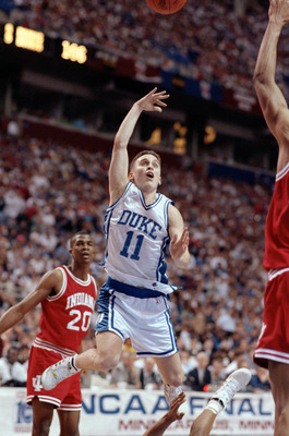 MINNEAPOLIS - APRIL 4:  Bobby Hurley #11 of the Duke Hoops goes for a layup during their game against the Indiana Hoosiers at the Hubert H. Humphrey Metrodome in Minneapolis, Minnesota on April 4, 1992. Duke defeated Indiana 81-78. (Photo by:  Jonathan Da