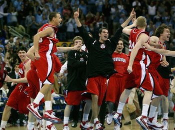 RALEIGH, NC - MARCH 23:  Stephen Curry #30 of the Davidson Wildcats and teammates celebrate after defeating the Georgetown Hoyas during the 2nd round of the East Regional of the 2008 NCAA Men's Basketball Tournament at RBC Center on March 23, 2008 in Rale