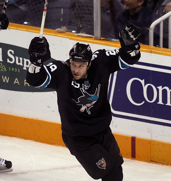 SAN JOSE, CA - NOVEMBER 15:  Ryane Clowe #29 of the San Jose Sharks celebrates after he scored a goal in the first period against the Los Angeles Kings at HP Pavilion on November 15, 2010 in San Jose, California.  (Photo by Ezra Shaw/Getty Images)
