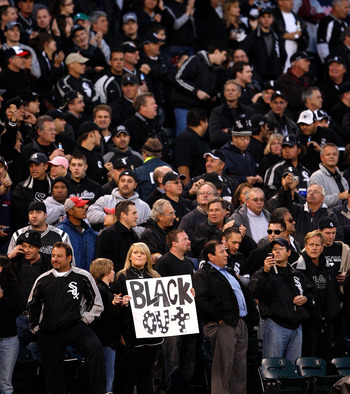 "White Sox fans with their own ""black out"" theme."