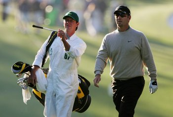 AUGUSTA, GA - APRIL 06:  David Duval and his caddie, Jeff Weber walk up the first fairway during the first round of The Masters at the Augusta National Golf Club on April 6, 2006 in Augusta, Georgia.  (Photo by Andrew Redington/Getty Images)